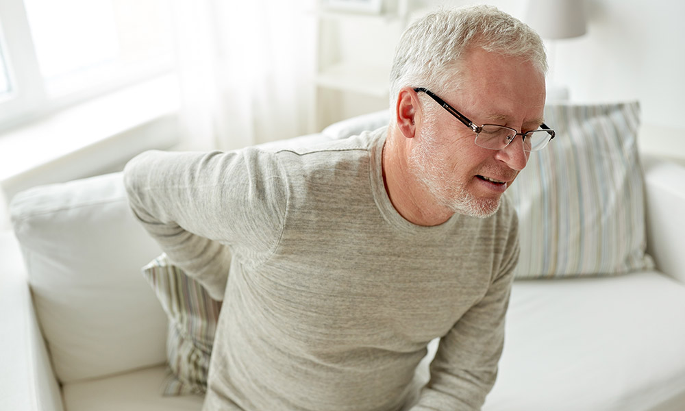 Retired person suffering from shingles