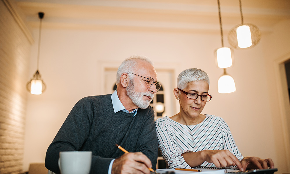 Retired Couple planning finances