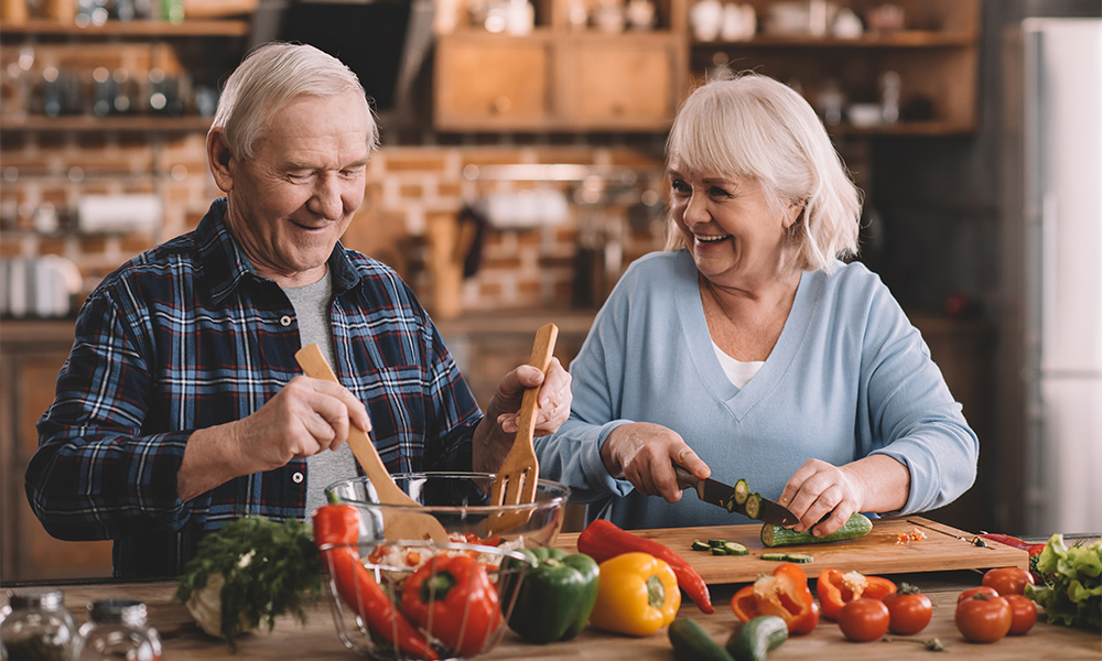 Retired couple eating brain food